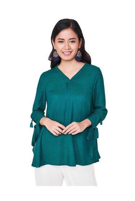 5a680f9a680 Buy Global Desi Green Textured Top for Women Online @ Tata CLiQ