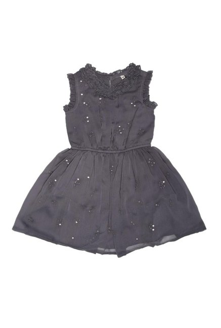 d302f78c99e1c Buy Allen Solly Junior Grey Embellished Frock for Girls Clothing Online    Tata CLiQ