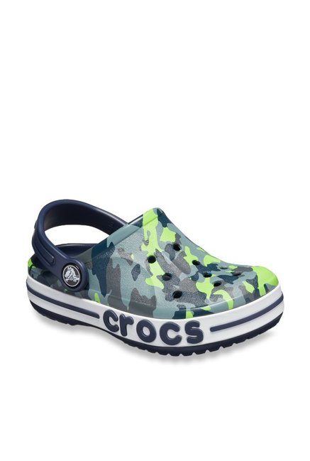 055a37e7a Buy Crocs Kids Bayaband Graphic Navy   Green Back Strap Clogs for ...