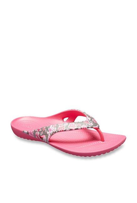 5ad57d112e306 Buy Crocs Kadee II Graphic Grey   Paradise Pink Flip Flops for Women at  Best Price   Tata CLiQ