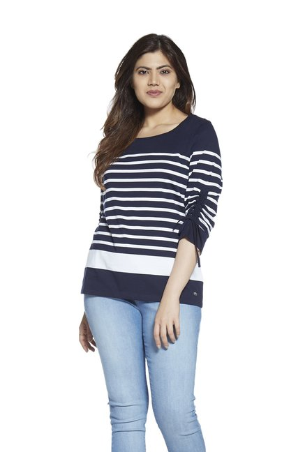 bdf9620193a Buy Gia curve by Westside Navy Striped T-Shirt for Women Online   Tata CLiQ