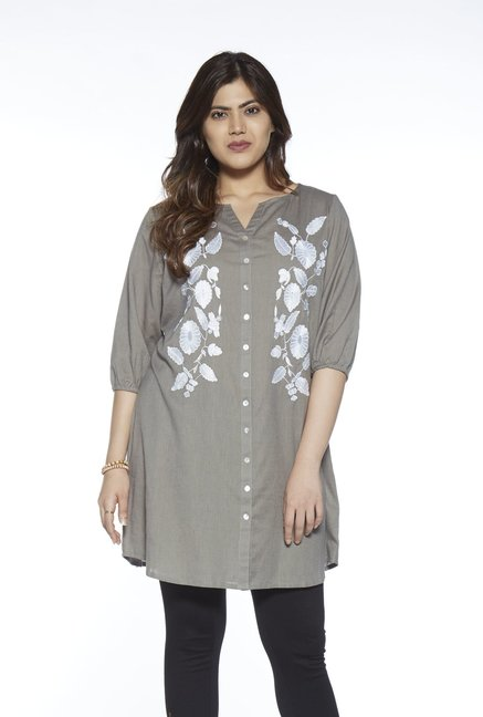 4f3c2147cfd Buy Gia curve by Westside Olive Linen Blend Marcia Blouse for Women Online    Tata CLiQ