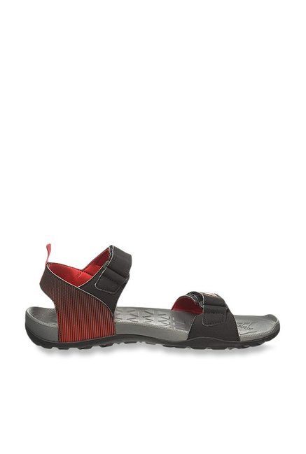 Adidas Black And Red Velcro Floater Sandals Black Men's