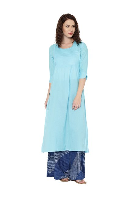 88d50e84baa3 Buy Desi Weavess Sky Blue Cotton A-Line Kurta for Women Online @ Tata CLiQ