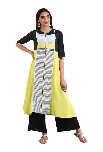 91c7b9bd8d719 Buy W Green Round Neck Printed Kurta for Women Online @ Tata CLiQ