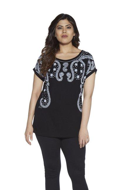 e763006da Buy Gia curve by Westside Black Bella T-Shirt for Women Online   Tata CLiQ