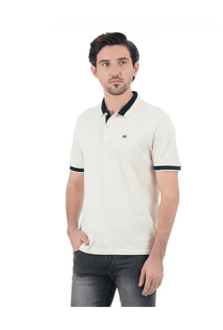 55bbe0d5 Buy Arrow Sport Off White Regular Fit Cotton Polo T-Shirt for Men Online @  Tata CLiQ