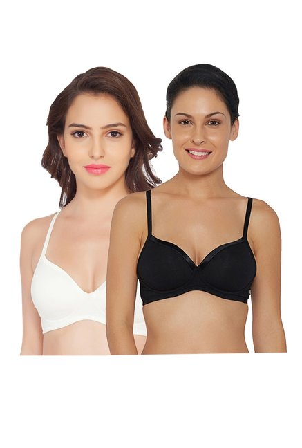 4d411cf6486e4 Buy Soie Black   White Non Wired Seamless Bra (Pack of 2) for Women Online    Tata CLiQ