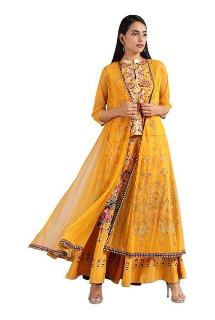 4c5a678abce Buy W Yellow Printed Kurta Set for Women Online   Tata CLiQ