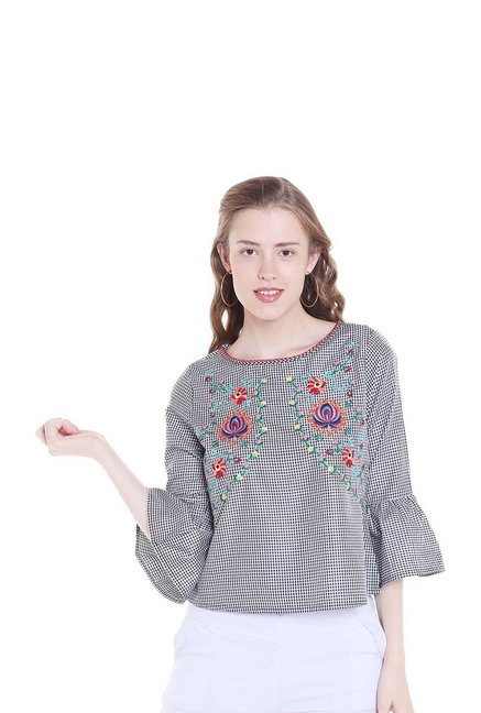 a18e57b688c3f Buy Fusion Beats Black Embroidered Top for Women Online   Tata ...
