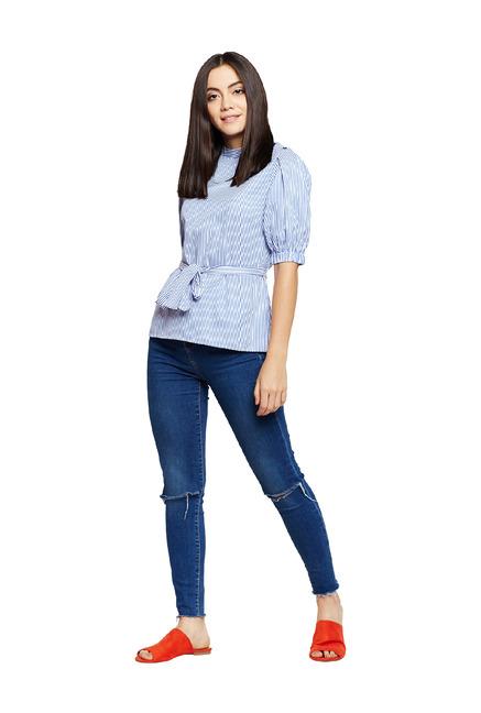 eda005279 Buy Oxolloxo White Striped Regular Fit Top for Women Online @ Tata CLiQ