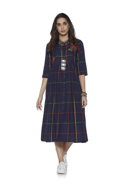 e17af6a2bce Buy Bombay Paisley by Westside Indigo Fit-And-Flare Dress for Women Online    Tata CLiQ
