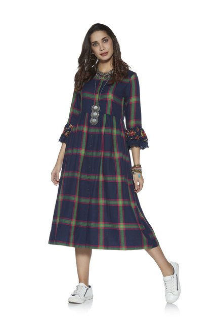 ab2b9526448 Buy Bombay Paisley by Westside Indigo Fit-And-Flare Check Dress for ...