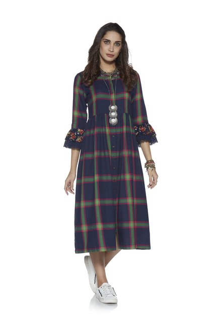 34d781243bb Buy Bombay Paisley by Westside Indigo Fit-And-Flare Check Dress for Women  Online   Tata CLiQ