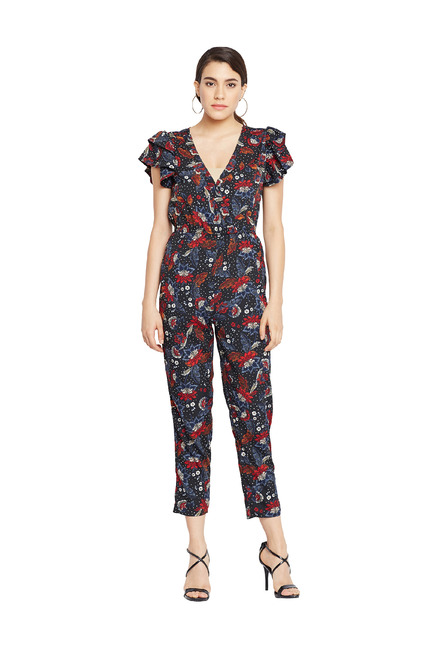 6211a2ea4e9 Buy Oxolloxo Black Floral Print Jumpsuit for Women Online   Tata CLiQ