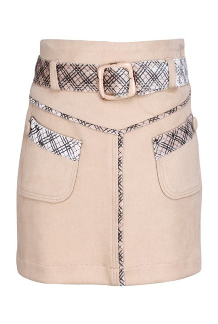 61e85115cf Buy Cutecumber Kids Beige Solid Skirt With Belt for Girls Clothing ...
