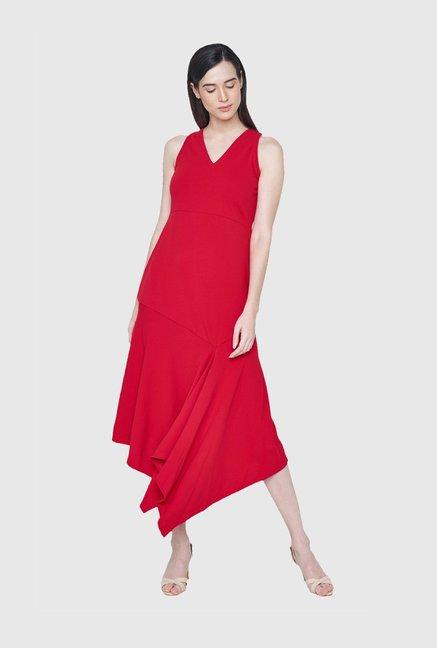 923d4783df Buy AND Red Regular Fit Midi Dress for Women Online   Tata CLiQ