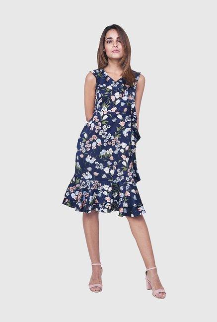 Buy AND Navy Floral Print Knee Length Dress for Women Online   Tata CLiQ e9b63cfe7