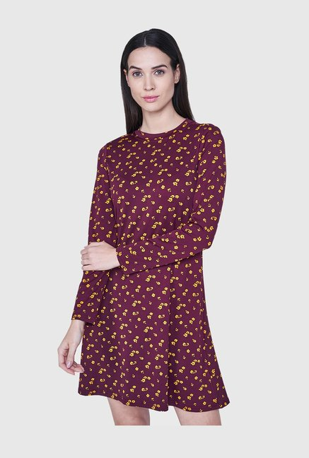 9d9092a7f926 Buy AND Wine Floral Print Above Knee Dress for Women Online   Tata CLiQ