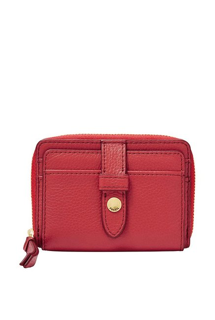 Buy Fossil Fiona Red Solid Leather Coin & Card Case For Women At