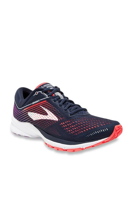a90ab909e748f Buy Brooks Launch 5 Navy   Coral Running Shoes for Women at Best ...