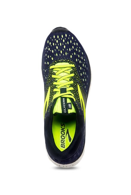 d1878e06438 Buy Brooks Glycerin 16 Navy   Lime Green Running Shoes for Men at ...