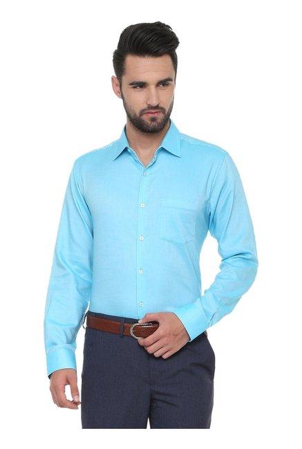 133a796c Buy Van Heusen Blue Regular Fit Cotton Shirt for Men Online @ Tata CLiQ