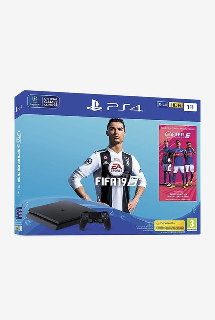 Sony PS4 Slim 1TB Console with FIFA 19 (Black)