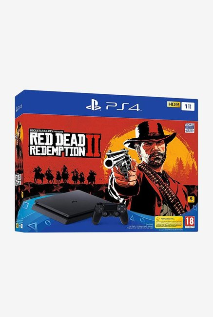Sony PS4 Slim 1TB Console with Red Dead II Redemption (Black)