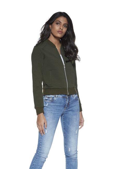 caedb62d6 Buy Nuon by Westside Khaki Bomber Jacket for Women Online @ Tata CLiQ