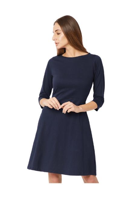 8b186c372d7f Buy Miss Chase Navy Above Knee Skater Dress for Women Online @ Tata CLiQ
