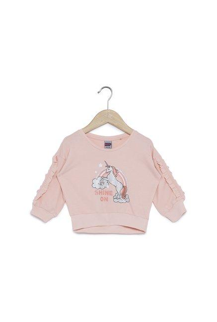 Buy HOP Kids by Westside Peach Ruffled T-Shirt for Girls