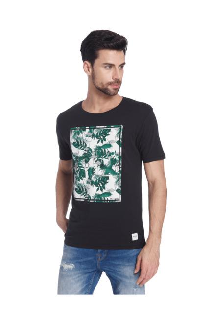75cfdcf7ef3 Buy Only   Sons Black Slim Fit Cotton T-Shirt for Men Online   Tata ...