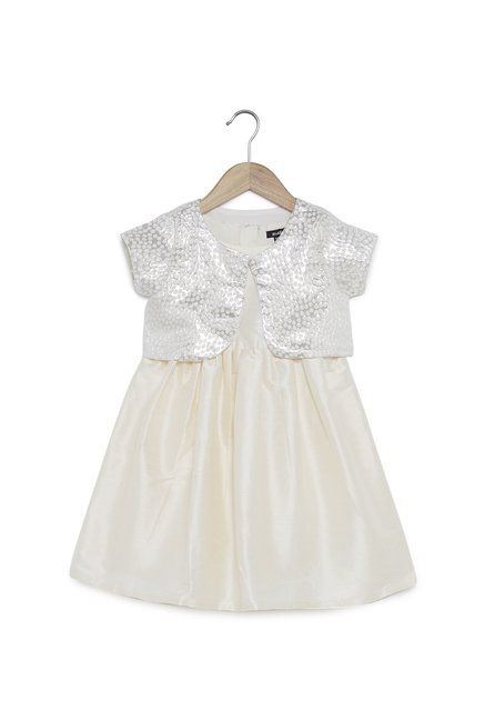 b132f388cf Buy Zudio Kids Off-White Dress With Glitter Jacket for Girls ...