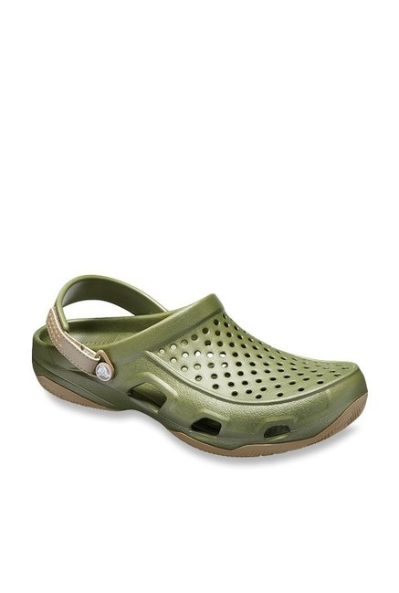 d4213b8a8df7 Buy Crocs Swiftwater Deck Olive Back Strap Clogs for Men at Best ...