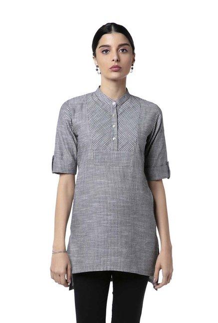 da4e9c93aed69 Buy Soch Grey Cotton Striped Tunic for Women Online   Tata CLiQ