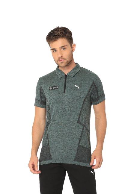 6fcb09d7 Buy Puma Olive Polo Collar Nylon T-Shirt for Men's Online @ Tata CLiQ