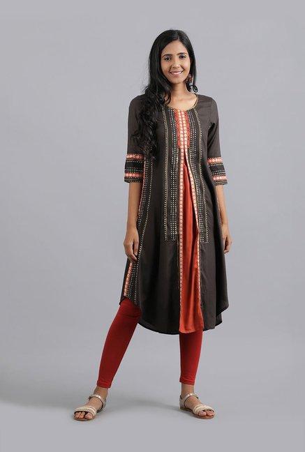 aa7a3151a9 Buy W Brown Printed Kurta for Women Online @ Tata CLiQ