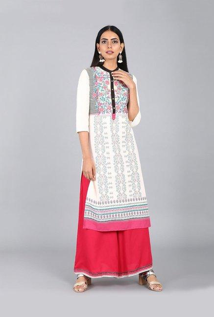 9153af17fc Buy W Off White Printed Kurta for Women Online @ Tata CLiQ
