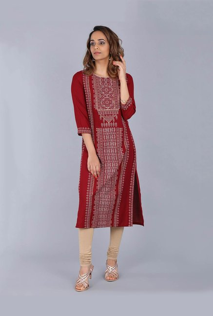 905db8ffdcd Buy W Maroon Printed Kurta for Women Online   Tata CLiQ