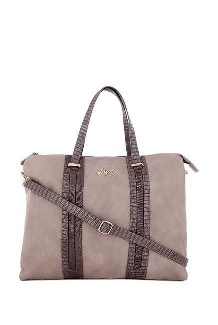 Lavie Tullia Beige Solid Laptop Messenger Bag
