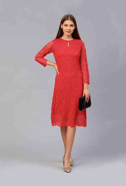 fbe8ebebb470 Buy Athena Red Lace Below Knee Dress for Women Online   Tata ...