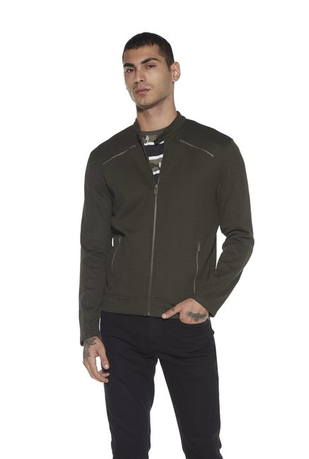 1194dd9cafdd6 Buy Nuon by Westside Olive Slim Fit Zippered Jacket for Men Online   Tata  CLiQ