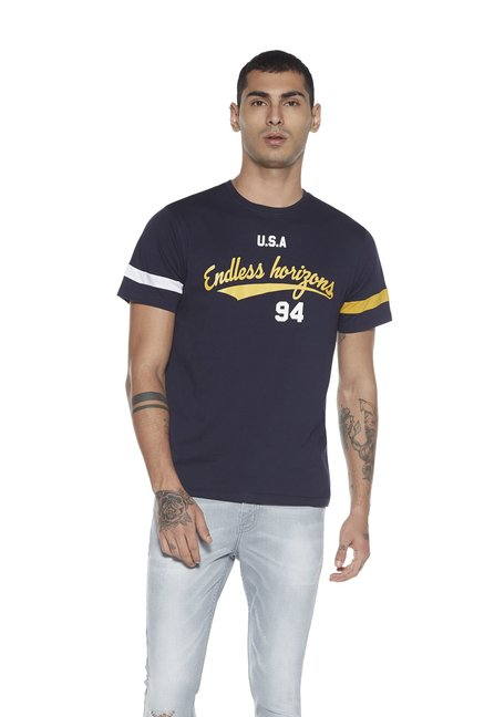 c32b3459 Buy Nuon by Westside Navy Slim Fit Text Print T-Shirt for Men Online @ Tata  CLiQ