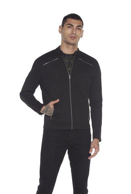6a57d8a376f75 Buy Nuon by Westside Black Slim Fit Zippered Jacket for Men Online ...