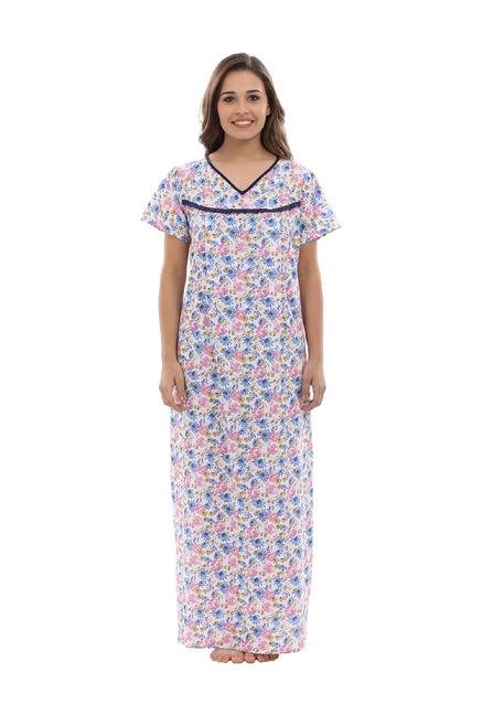 2313a09d761be Buy Clovia Blue Printed Maternity Nighty for Women Online @ Tata CLiQ
