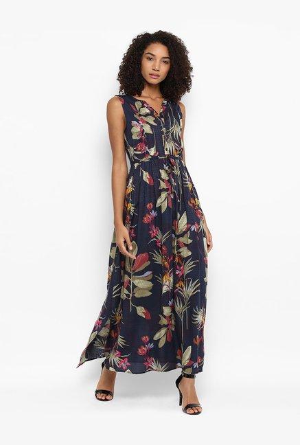0042ea8fd0b Buy Harpa Navy Printed Maxi Dress for Women Online   Tata CLiQ