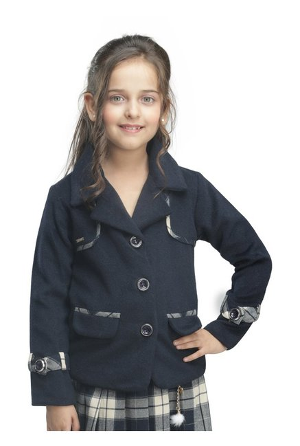 9b7cb0e78677 Buy Cutecumber Kids Navy Solid Coat for Girls Clothing Online   Tata ...