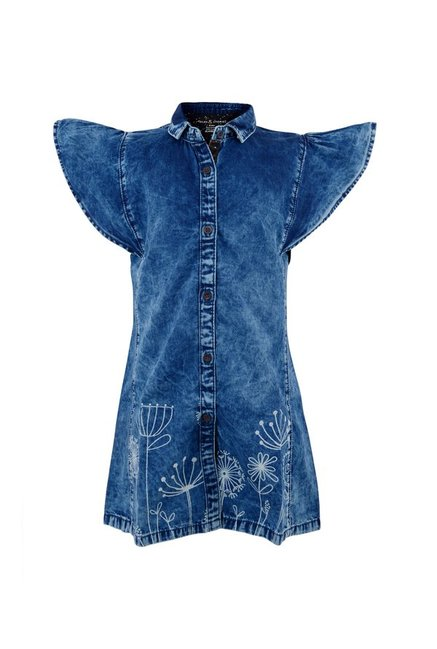 bd4dfbe550 Buy Tales & Stories Kids Dark Blue Printed Dress for Girls Clothing Online  @ Tata CLiQ