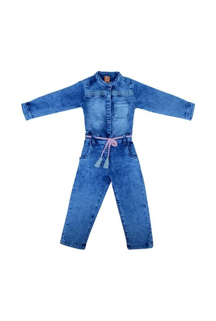 5ae71abaac70 Buy Tales   Stories Kids Light Blue Jumpsuits With Belt for Girls ...